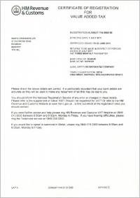 Waste2Resource VAT certificate
